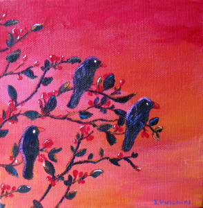 """Blackbirds"" Acrylic 6""x6"" * Sold"