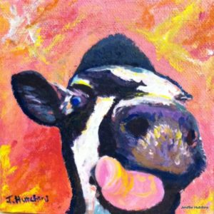 """Moo,"" Acrylic  6""x6"" *  Original NFS  * Prints Available 8""x8"" $35"